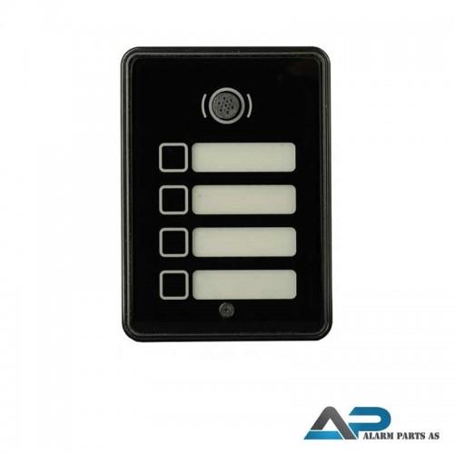 21612 Dørstasjon med herdetglass og 4 knapper